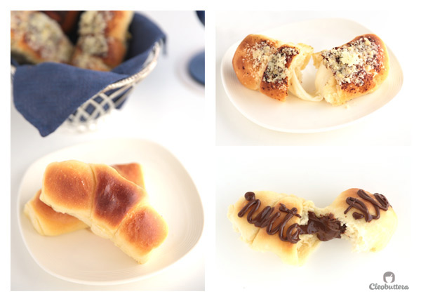 Heavenly Crescent Rolls (3 Ways) - The fluffiest and most tender rolls you could possible have, with 3 different fillings. There's the Nutella filled, the gooey mozzarella stuffed and the classic plain butter.