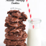 Nutella Therapy Cookies-These feel-good-cookies are studded with chocolate chips, stuffed with Nutella & sprinkled with sea salt.