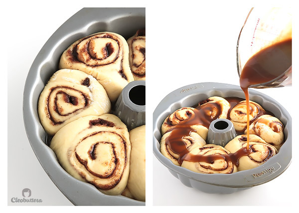 Cinnamon Roll Monkey Bread - A delectable merge of two classics. Soft and feathery cinnamon rolls baked on a bed of caramel sauce in a bundt pan, a la monkey bread style.