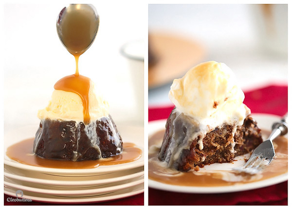 Sticky Toffee Pudding...Warm date laced cake soaked and drizzled with a luxurious toffee sauce. Amazing with vanilla ice cream!