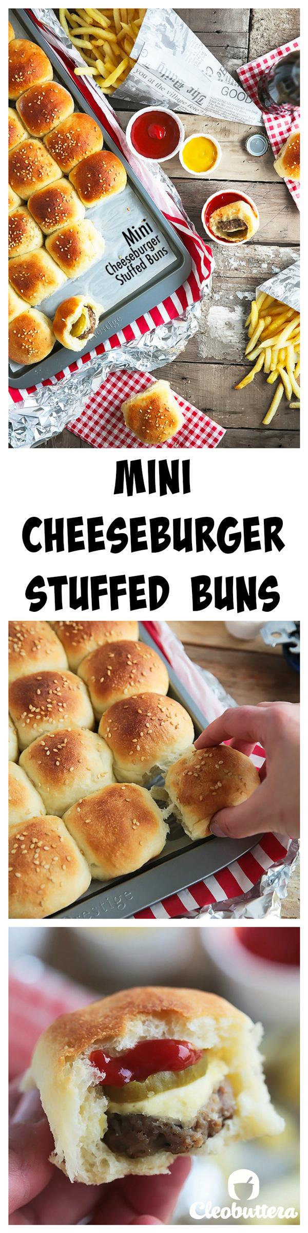 Mini cheeseburger stuffed buns - pinterest