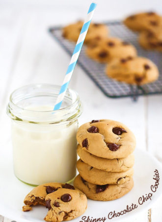 Skinny Chocolate Chip Cookies {You won't miss the extra calories and fat in these lightened up cookies. They have a SECRET INGREDIENT that keeps that soft and chewy for days}.