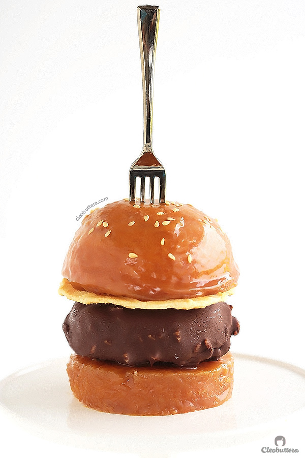 Caramel Buns Ice Cream Burger {Sweet buns of vanilla bean cake filled and glazed with caramel sauce, and a patty of chocolate/nut covered vanilla ice cream.  Dessert burger heaven I tell 'ya!}