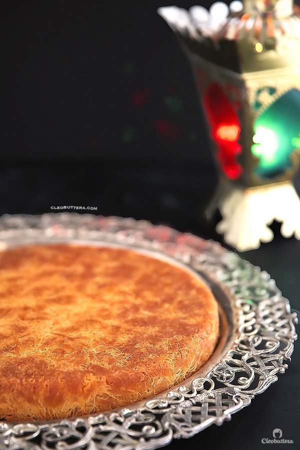 Classic Cream-Filled Konafa {A Middle-Eastern delicacy, made from crunchy shredded phyllo pastry, sandwiching a creamy, pudding-like filling, and soaked with vanilla scented simple syrup}