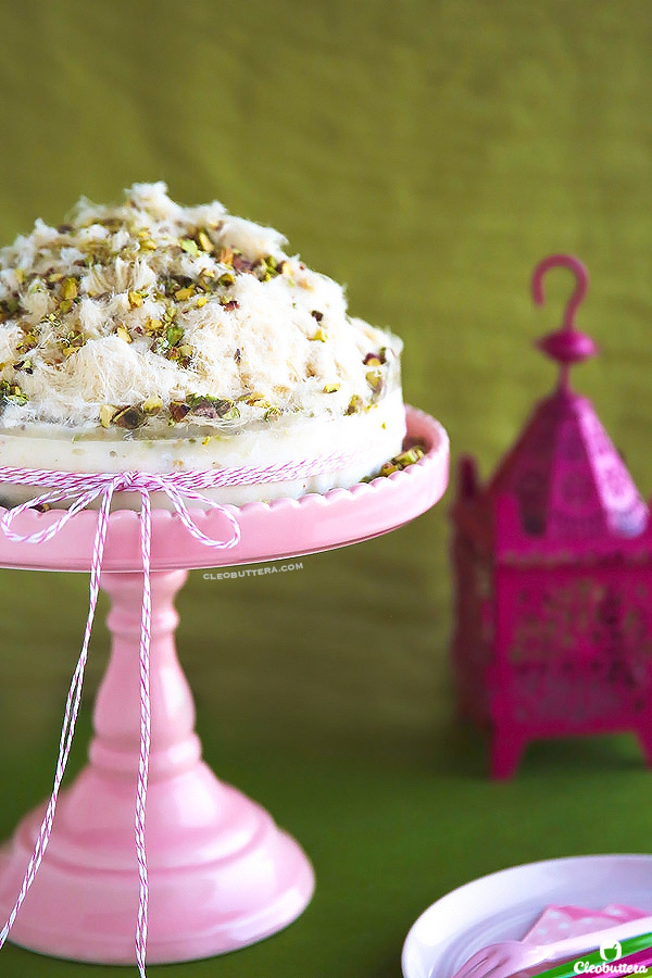 Ghazal Beirut Ice Cream Cake (Elastic mastic ice cream cake topped with Arabic cotton candy and pistachios. A 2-ingredient recipe!)