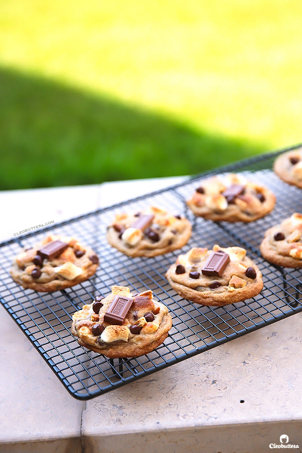 """S'mores Cookies {With a dough made from graham cracker crumbs, milk chocolate chips, mini marshmallows and a square of Hershey's chocolate bar on top...these soft, chewy, gooey cookies scream S""""MORES!}"""