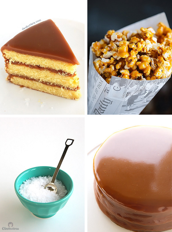 The best yellow cake you've ever had, filled and covered with the creamiest, southern-style caramel icing, sprinkled with sea salt and optional salted caramel popcorn!