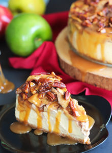 An exceptionally creamy cheesecake with a topping that tastes like a mash up between apple pie and pecan pie. A drizzle of salted caramel sauce takes this dessert from amazing to irresistible!