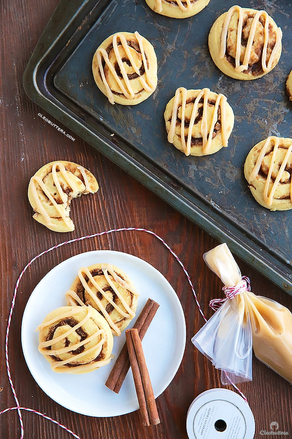 Cinnamon rolls in a soft sugar cookie form, with a kiss of browned butter. SO GOOD!