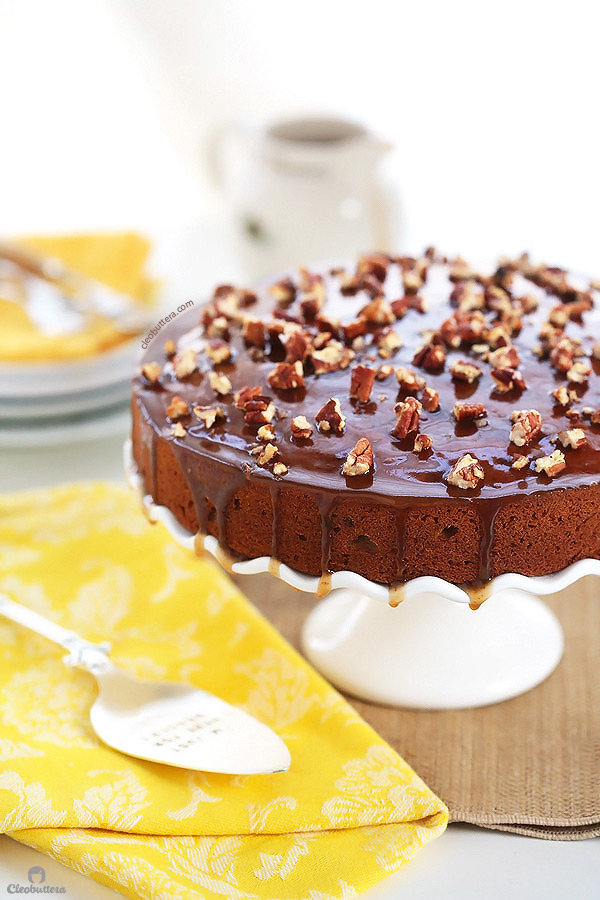 Super moist and tender roasted sweet potato cake made extra delicious with browned butter in both the batter and the toffee glaze. A sprinkling of salted candied pecans on top adds a pleasant crunch.