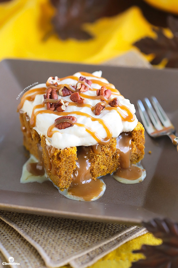 This superbly moist pumpkin spiced cake is so easy to make and always a big hit! Made from a revamped cake-mix, this cake oozes out with pockets of sweetened condensed milk, not-too-sweet caramel sauce, and smothered with clouds of caramel whipped cream and pecans. YUM!