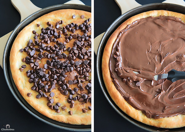 A dessert pizza on peanut butter steroids! Soft pizza crust, melted chocolate, chopped Reese's, salted peanuts and a peanut butter drizzle. YUM!