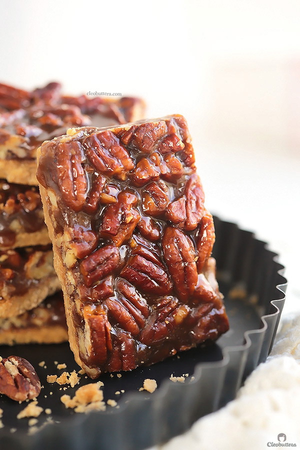 You won't be able to stop eating these! They are so EASY to make and too dangerous to have around. BEST EVER pecan bars!