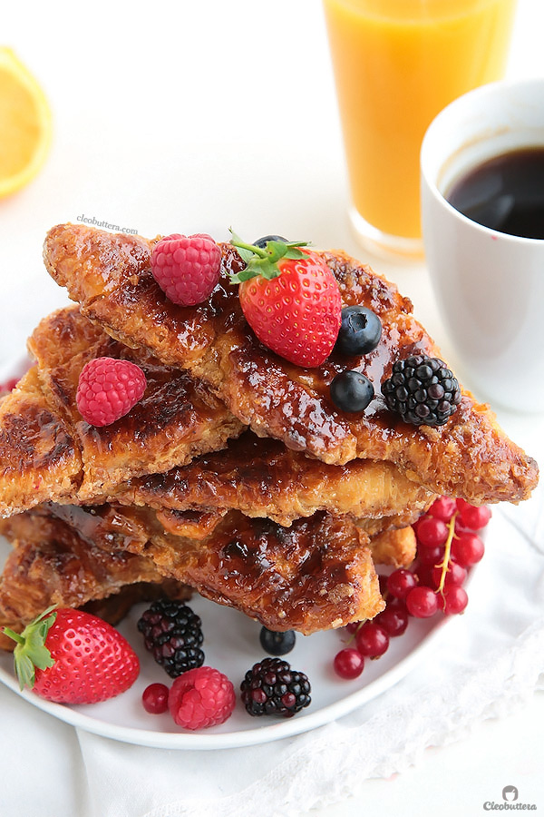 This French Toast is life changing! Soft and creamy on the inside with a caramelized exterior like creme brûlée. Croissants just puts them way waaaaay over the top!