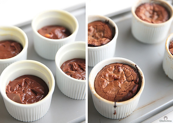 These Decadent Molten Lava Cakes flowing with 4 different fillings, give the restaurant version a run for its money! Choose between peanut butter cup filling, salted caramel, Nutella, leave it plain for the classic OR make one of each. ONE bowl, NO mixer, so QUICK & EASY to make, and could be prepared a day ahead!