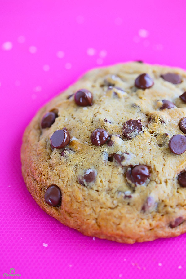 Quick and easy recipe for ONE giant thick and chewy chocolate chip cookie! Perfect for those moments when a cookie craving strikes. (Can also make 2 regular sized cookie or mini skillet cookies a la mode!)