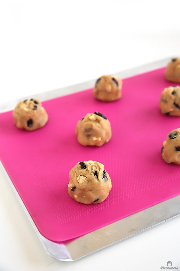 These cookies taste like blueberry muffins, but better. They are incredibly soft, chewy and so thick, with dried blueberries and milk crumbs flavoring every bite. Delish!