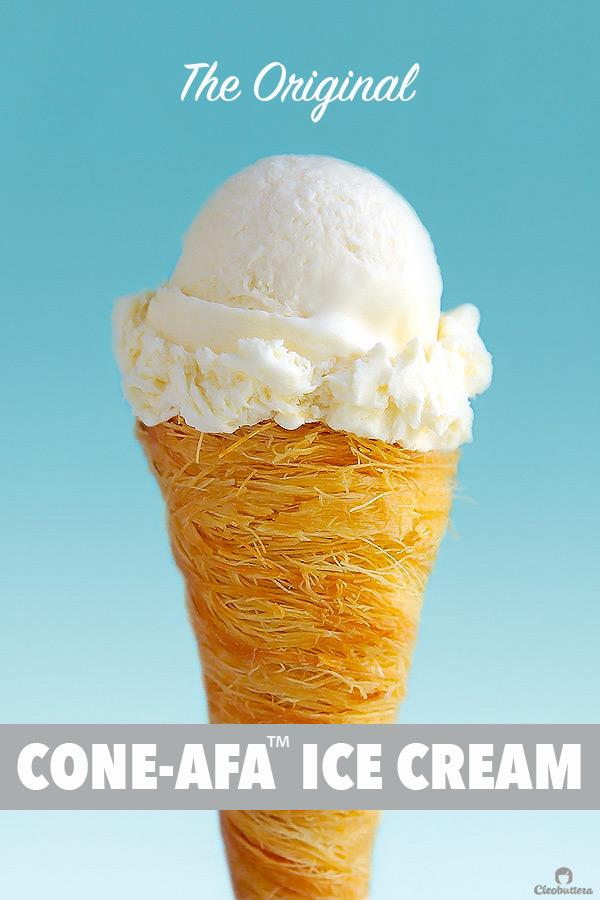 The classic cream konafa just got ice cream-ized! Crunchy, sweetened konafa cones served with a no-churn rose and orange blossom water scented eshta ice cream