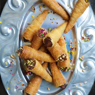 Nutella Kunafa Cones