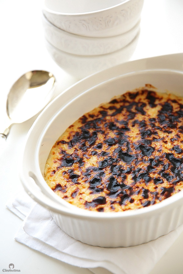 Grandma's recipe for an incredible rice pudding! Unbelievably creamy on the inside with a pleasantly blistered, broiled top on the outside.