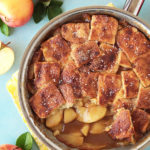 A simple, old fashioned skillet apple pie with a caramelized saucy filling and no fuss, crisp crust topping. Dare I say better than apple pie?