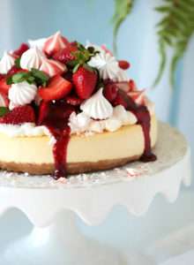 Your search for the perfect baked cheesecake ends here!  Incomparably creamy and velvety with just the right amount of tang, sweetness and density.  A wonderful contrast to a crunchy crust that doesn't turn soggy.  Serve plain from the ultimate classic or give it an Eton Mess twist with strawberry topping, meringue kisses and whipped cream!