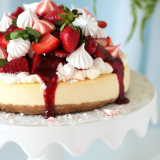 The Perfect Classic Cheesecake with Strawberry Meringue Topping