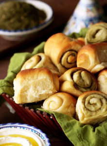Soft, buttery, fluffy, swirly rolls as easy as dumping everything together in one bowl.  A special ingredient keeps them soft for days. Whether plain or stuffed with Zaatar, these rolls are guaranteed to fly off your bread basket in a flash!