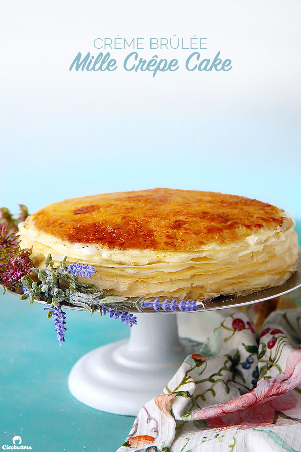 Twenty delicate crêpes layered with cloud-like vanilla bean whipped pastry cream and topped with a thin layer of crystalline, crunchy caramel.