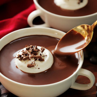 This thick and decadent hot chocolate is ultra rich and creamy, its like drinking chocolate soup.