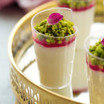 Arabic style milk pudding infused with a touch of rose and orange blossom waters, adorned with rose syrup topping and garnished with caramelized pistachios. Talk about eye candy! Plus...recipe VIDEO included!