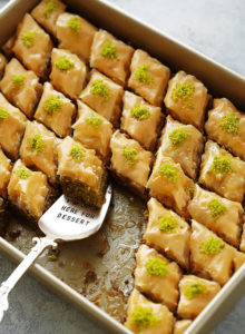 Thirty crisp layers of buttery phyllo and heaps of fragrant pistachios, combine to make an utterly delicious, light yet rich baklava that tastes like it came straight from a Turkish bakery.  Plus recipe VIDEO included!