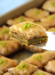 Thirty crisp layers of buttery phyllo and heaps of fragrant pistachios, combine to make an utterly delicious, light yet rich baklava that tastes like it came straight from a Turkish bakery. Plus recipe VIDEOincluded!