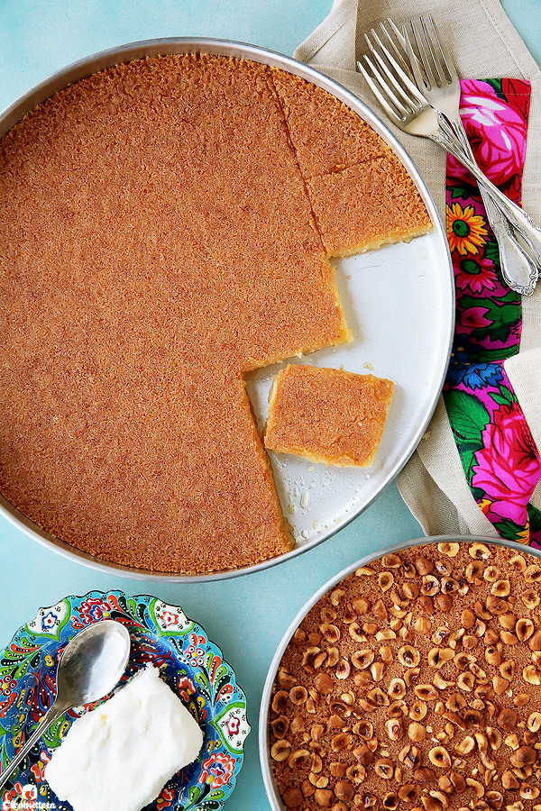 The search for the perfect, aunthenic Egyptian-style basbousa stops here!  This one is super soft, dense, never ever cake-y, and melt-in-the-mouth delicious.  Easily rivals the pastry shop's!  Plus...recipe video included!