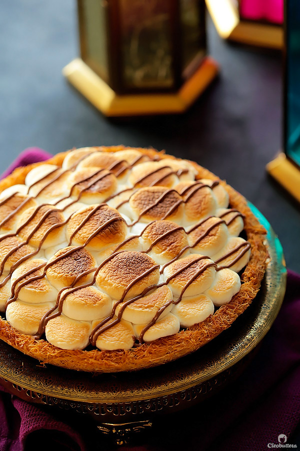 East meets West with this Middle Eastern twist on a campfire treat!  Everything you love about s'mores in an unexpected package.  Crunchy caramelized kunafa crust, creamy milk chocolate filling and toasted marshmallow topping make for one uniquely delicious pie.