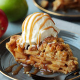 Super flaky and tender crust, warmly spiced, saucy apple filling with caramel notes in every bite, crunchy crumb topping...this is apple pie perfection right here!  A few tricks ensures a crisp, well browned bottom crust that is never, ever dense or soggy.
