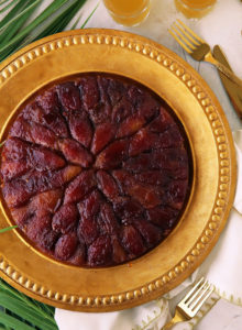 A Middle Eastern classic cake, tweaked to perfection! Soft and moist vanilla cake topped with lightly candied black dates. Serve warm forultimate comfort!