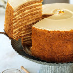 The ultimate recipe for Russia's famous Honey Cake, that you're likely to encounter.  Ten layers of soft, caramelized honey cakes that taste like the fine marriage of Lotus biscuits, honey graham crackers and gingerbread cookies, sandwiched between a cloud-like burnt honey and dulce de leche whipped cream.  Unbelievably delicious!