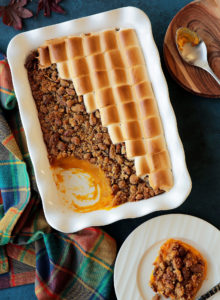 A sweeter version of the loved Thanksgiving side dish, making it perfect for dessert! Creamy sweet potato filling topped with both crunchy pecan topping and roasted marshmallows to satisfy all tastes. The lack of eggs in the dish makes it looser and lighter in texture!