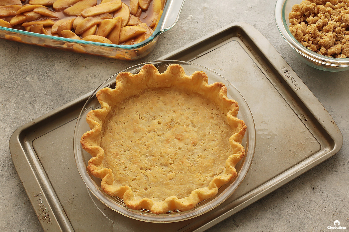 Forget everything you know about pie crust making!  This recipe uses an unconventional mixing method, to create the flakiest, most flavorful all-butter pie crust, that is a breeze to roll out, without the use of unusual ingredients.  It's a game-changer!