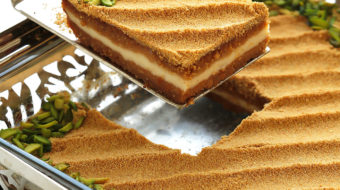 A uniquelydelicious basbousa cake with notes of toffee and caramel that come from toasted milk powder; agenius ingredient thatelevates the taste of anything it touches. Filled with a cream center and soaked with sweetened condensed milk...this basbousa is sure to make your tastebuds sing.