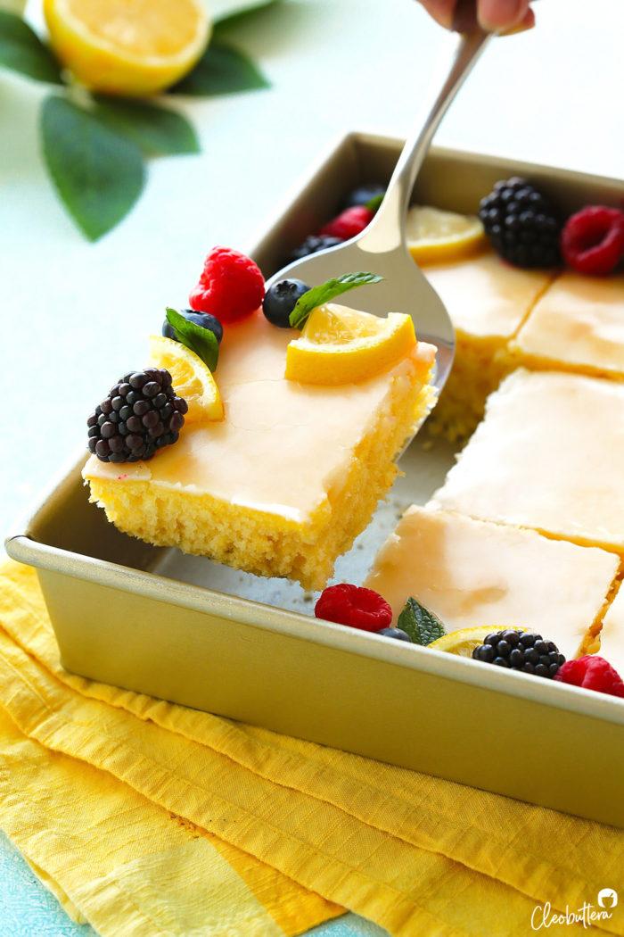 Fine The Lemoniest Lemon Sheet Cake Cleobuttera Funny Birthday Cards Online Elaedamsfinfo