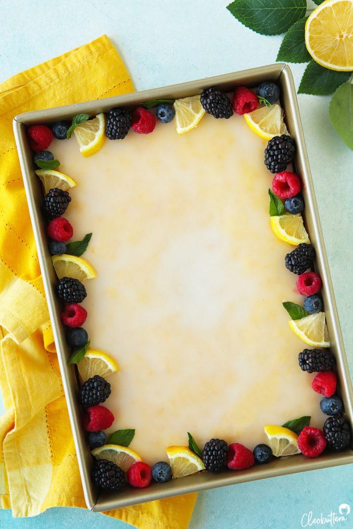 Superb The Lemoniest Lemon Sheet Cake Cleobuttera Funny Birthday Cards Online Inifodamsfinfo